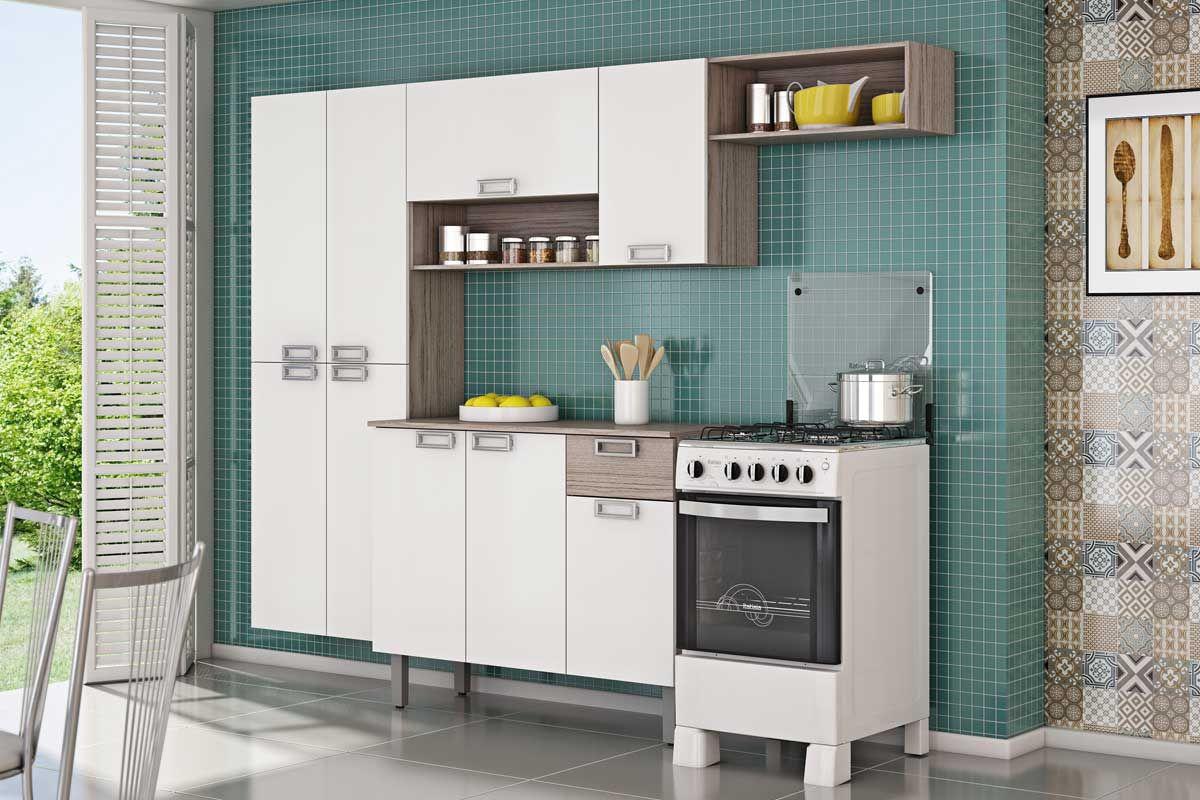 Gabinete De Cozinha Itatiaia Amora Madeira Triplo 3 Portas E 1