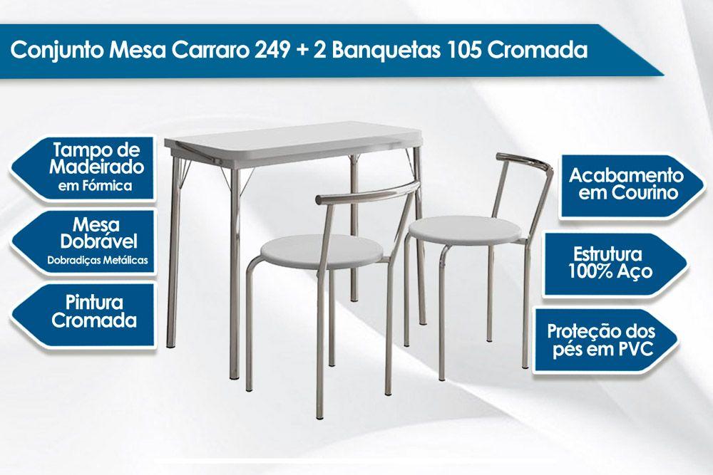 Conjunto Mesa de Cozinha Carraro - Base 249 c/ Tampo Madeirado Branco 92x45cm + 2 Banquetas 105 Cromada