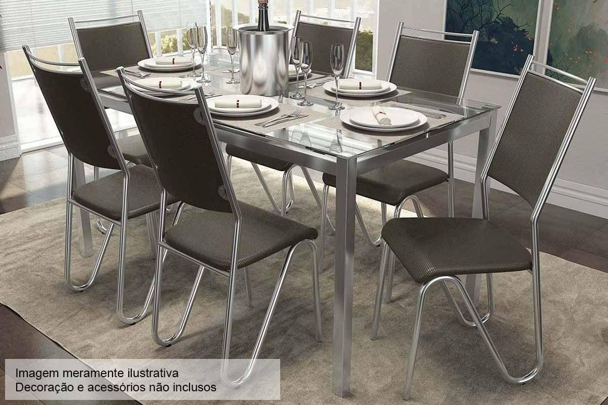 Conjunto Mesa de Jantar Kappesberg - Base Cromada Reno c/Tampo de Vidro 150cm + 6 Cadeiras Londres Cromadas