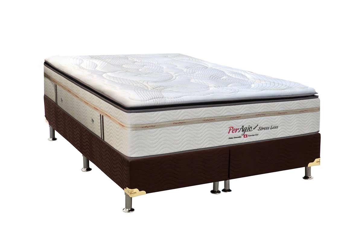 Conjunto Cama Box - Colchão Simbal de Molas Pocket Diamond Stress Less Pillow + Cama Box Universal Nobuck Rosolare Café