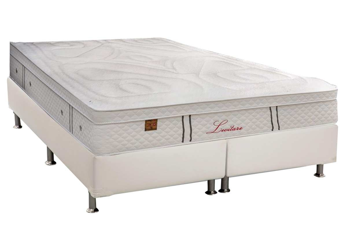 Conjunto Cama Box - Colchão Simbal de Molas Pocket Levitare Euro Pillow + Cama Box Universal Corino White