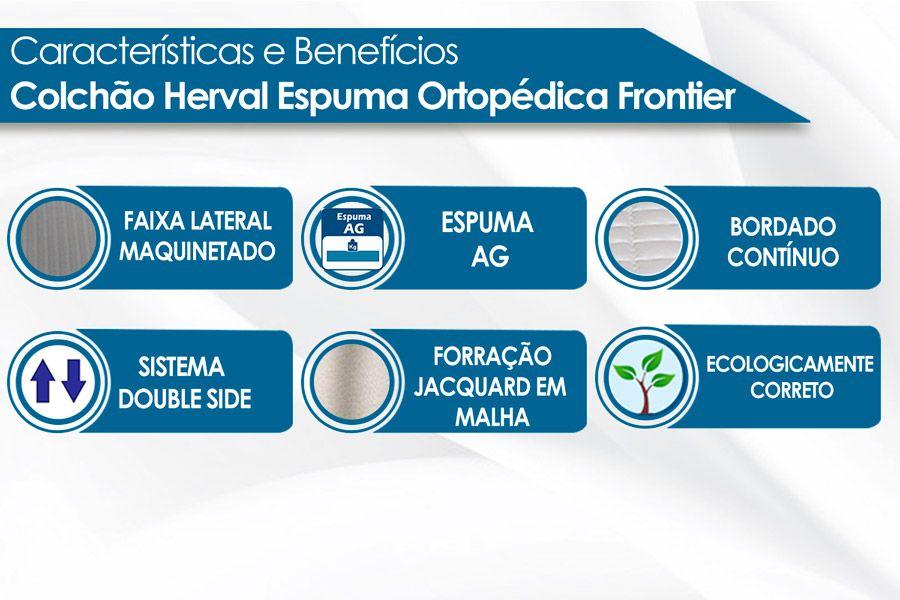 Colchão Herval de Espuma Ortopédica Firme Frontier Selado INMETRO