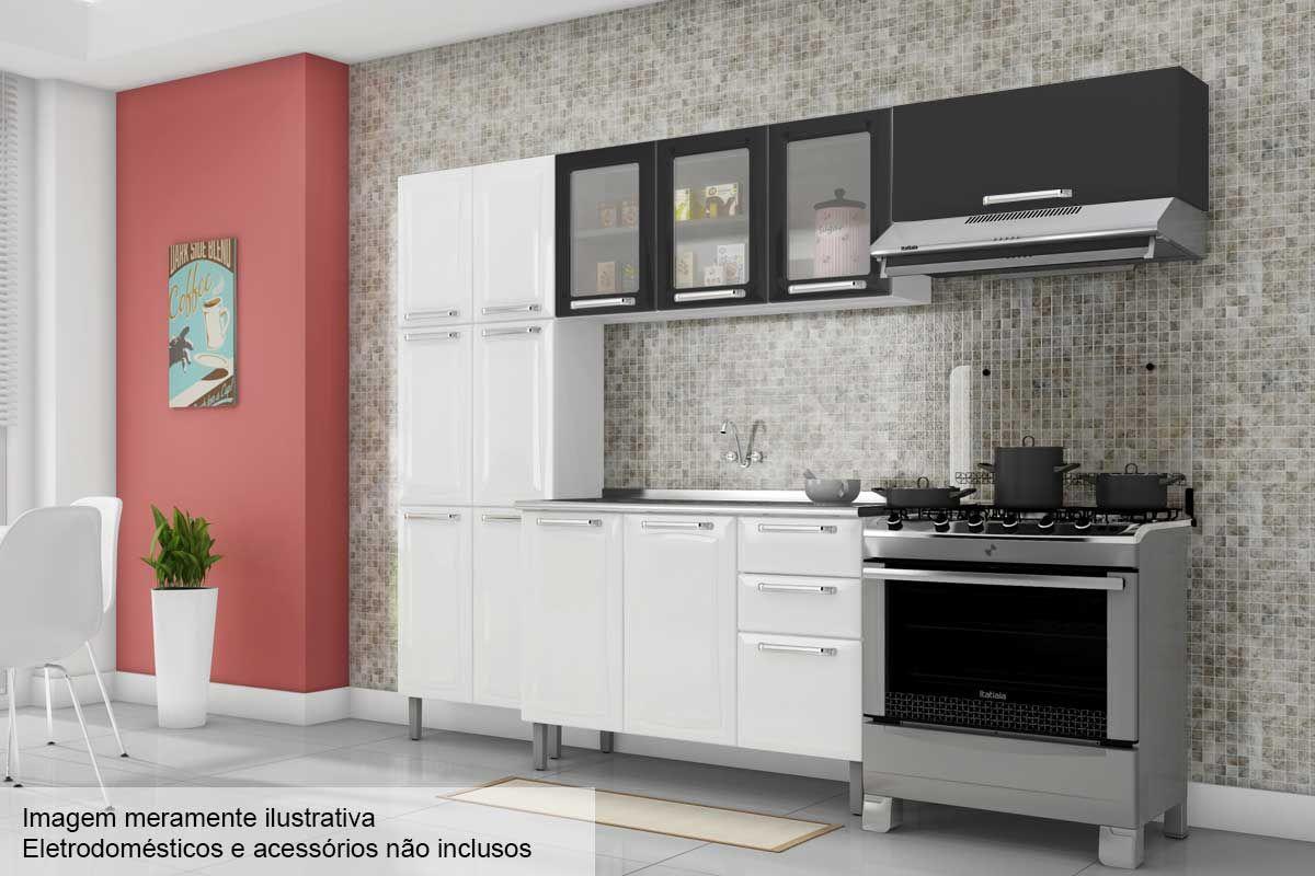 Cozinha Completa Itatiaia Tarsila de Aço c/ 4 Peças (Paneleiro+2 Armários+Gabinete Pia) Kit CZ44