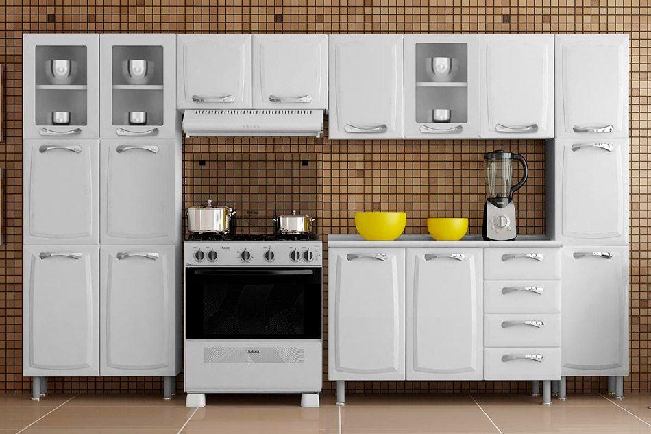 Cozinha Completa Itatiaia Itanew de Aço c/ 5 Peças (2 Paneleiros+2 Armários+Gabinete) Kit CZ45