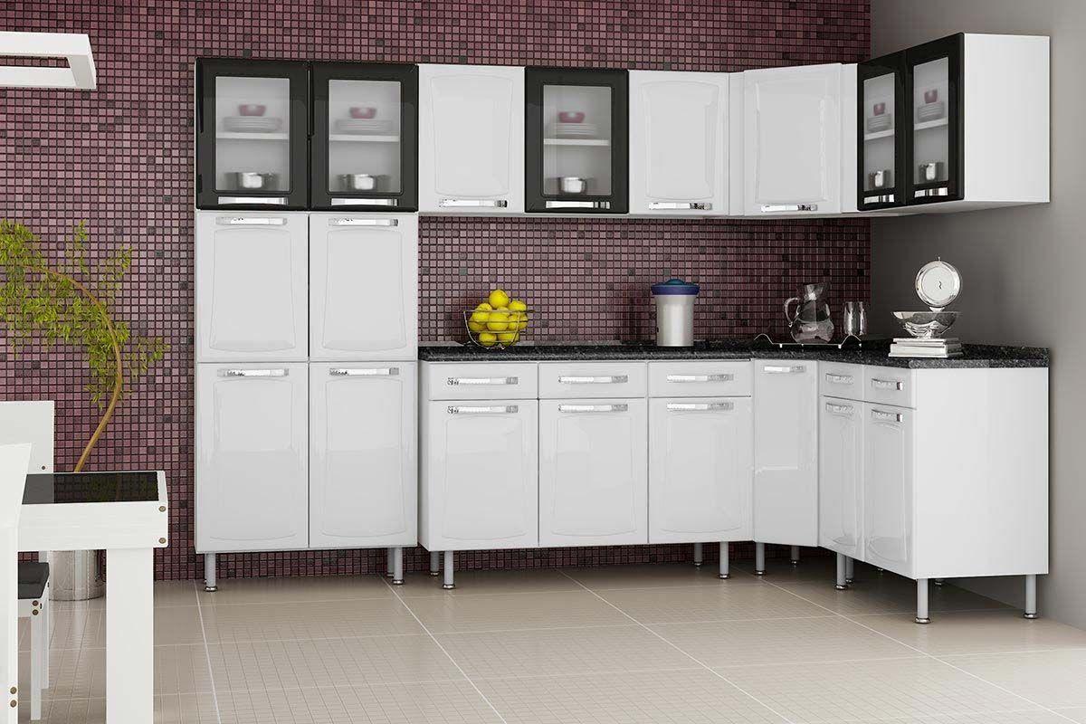 Cozinha Completa Itatiaia Itanew de Aço c/ 7 Peças (Paneleiro+3 Armários+3 Gabinetes) Kit CZ46