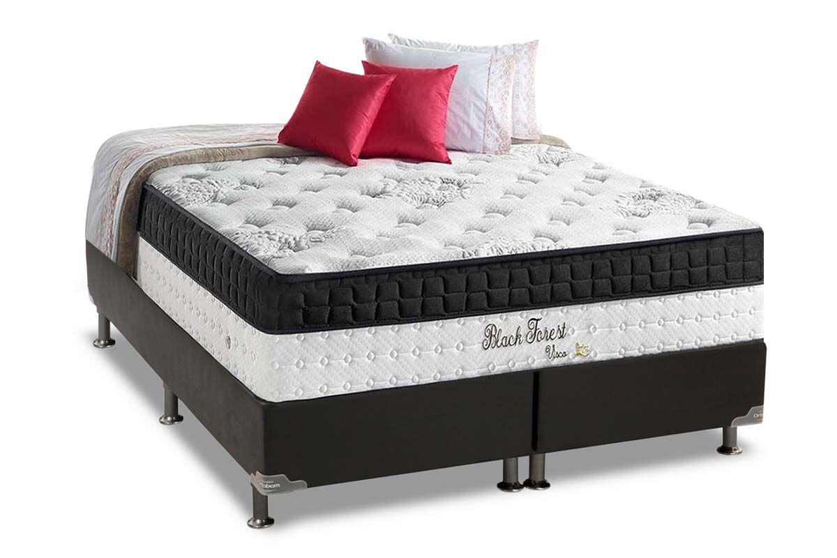 Conjunto Cama Box - Colchão Anjos de Molas Pocket Black Forest Visco Siliconado Euro Pillow + Cama Box Universal Couríno Black