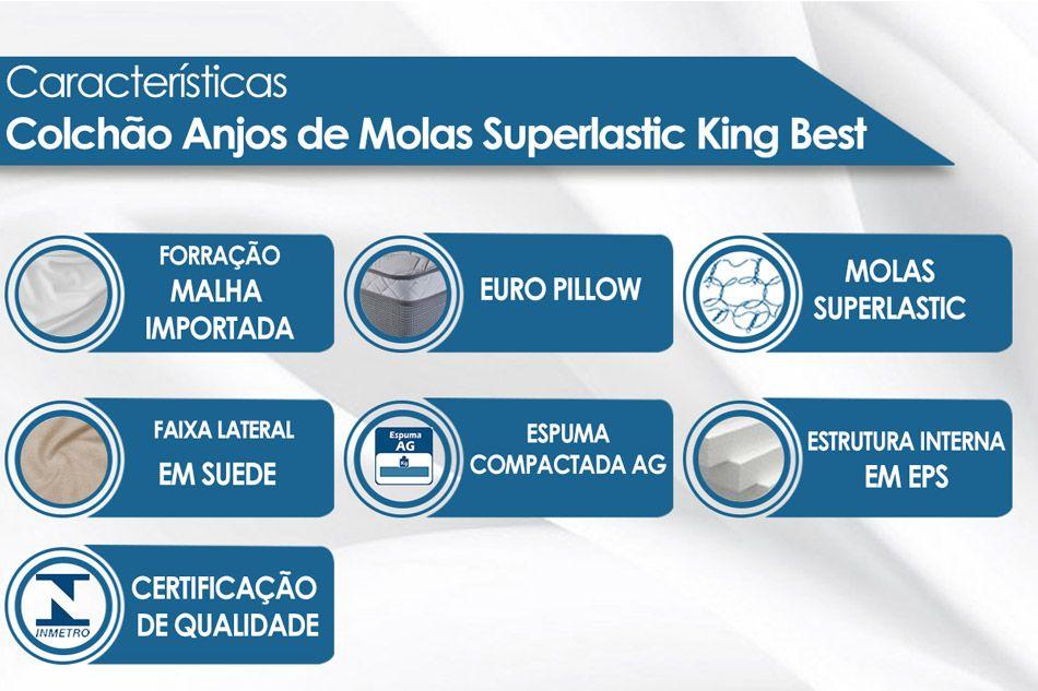 Conjunto Cama Box - Colchão Anjos de Molas Superlastic King Best Euro Pillow + Cama Box Universal Nobuck Bege Crema