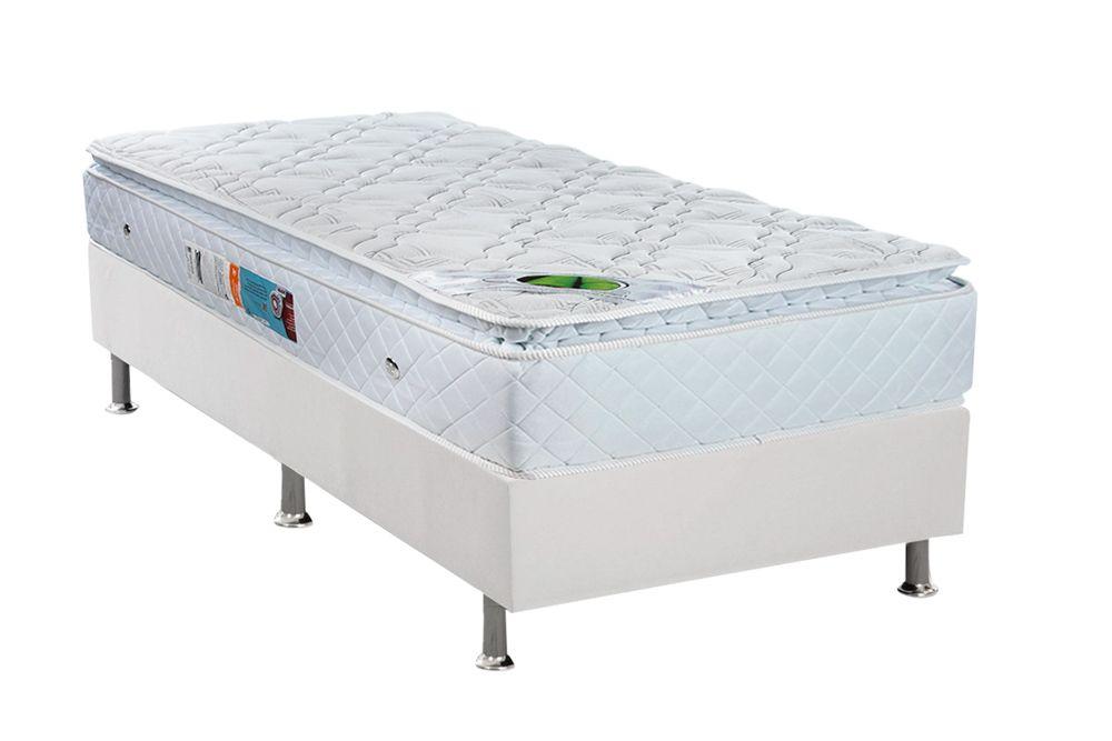 Conjunto Cama Box - Colchão Luckspuma de Molas Bonnel Trade Pillow Top White + Cama Box Universal Couríno White