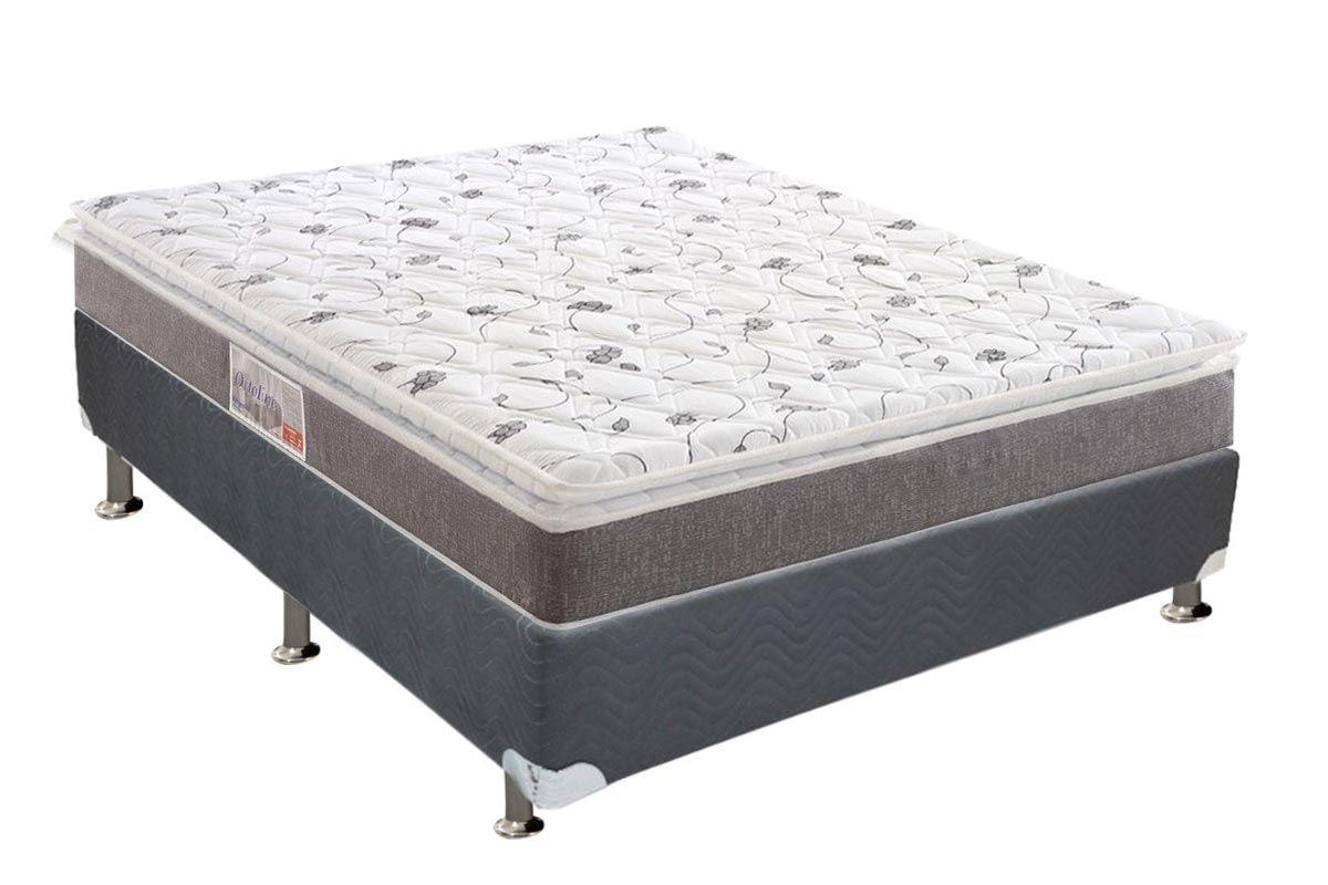 Conjunto Cama Box - Colchão Anjos de Espuma Ortopédica Ortoline Pillow Top + Cama Box Universal Nobuck Cinza