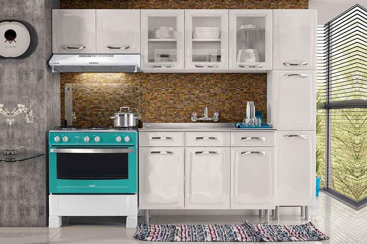 Cozinha Completa Itatiaia Premium de Aço c/ 4 Peças (Paneleiro+2 Armários+Gabinete) Kit CZ55