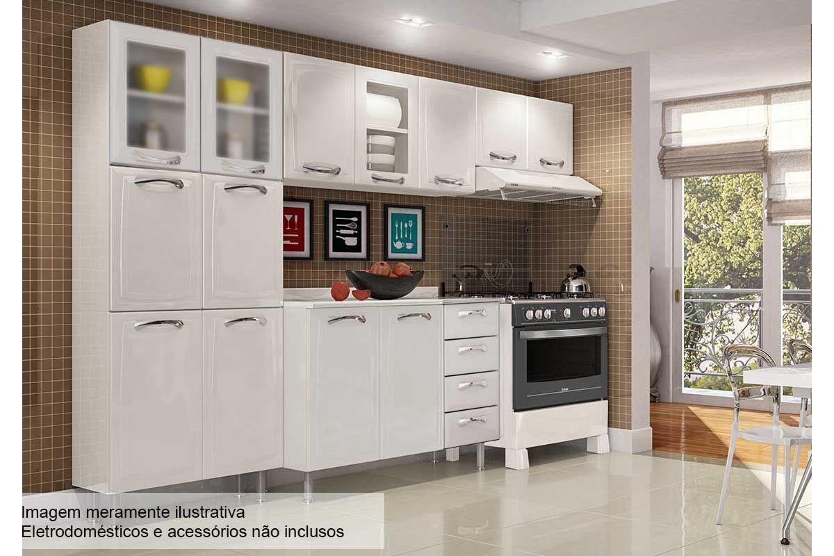 Cozinha Completa Itatiaia Premium de Aço c/ 4 Peças (Paneleiro+2 Armários+Gabinete) Kit CZ54