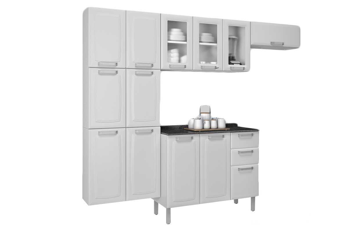 Cozinha Completa Itatiaia Luce de Aço c/ 4 Peças (Paneleiro+2 Armários+Gabinete) Kit CZ57