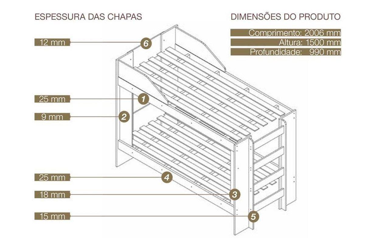 Treliche Conquista Grand Prix c/ Grade Proteção, Escadas e Prateleira (Beliche+Auxiliar)