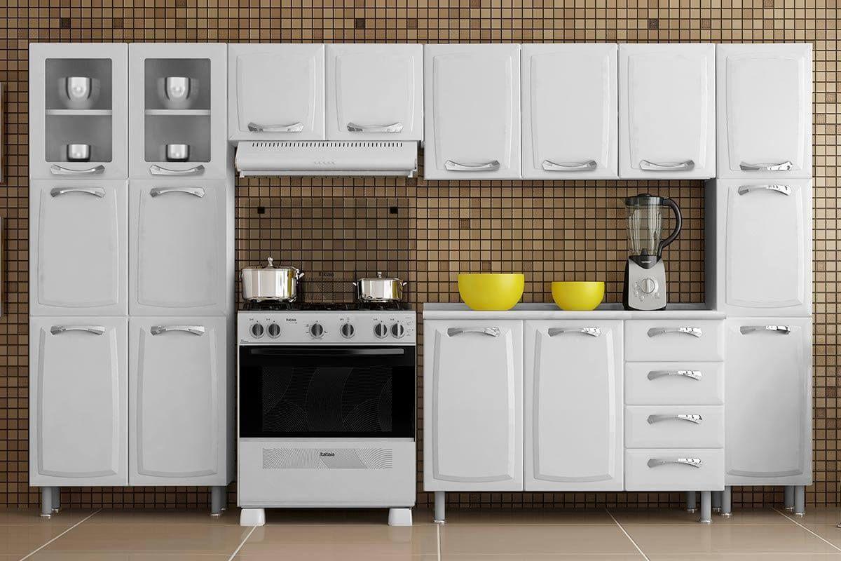 Cozinha Completa Itatiaia Premium de Aço c/ 5 Peças (2 Paneleiros+2 Armários+Gabinete) Kit CZ67