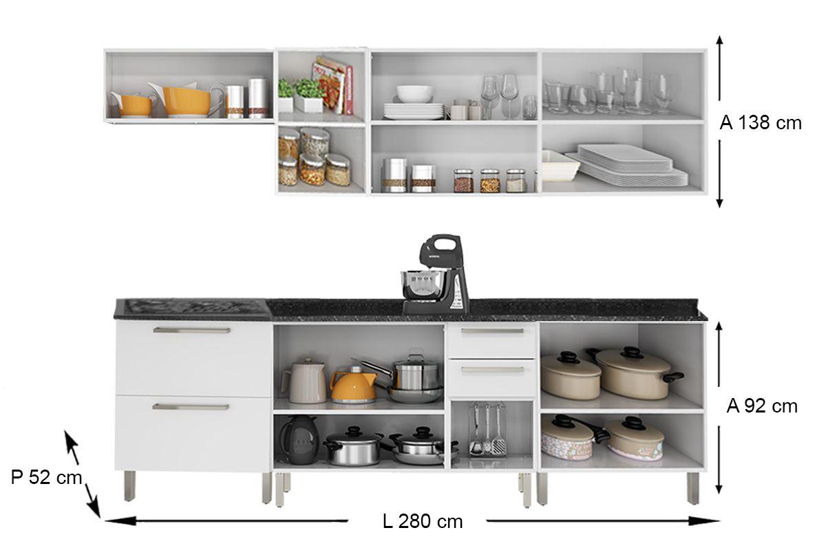 Cozinha Completa Itatiaia Dandara de Aço c/ 10 Peças (3 Armários+5 Gabinetes+Nicho+Cooktop) Kit CZ68