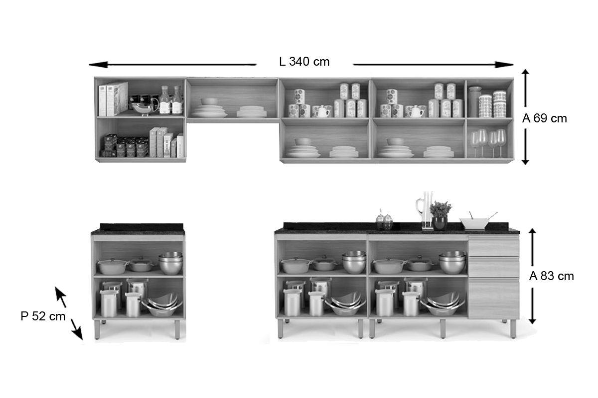 Cozinha Completa Itatiaia Belíssima Plus de Madeira c/ 11 Peças (4 Armários+3 Gabinetes+Suporte+3 Tampos) Kit CZ73