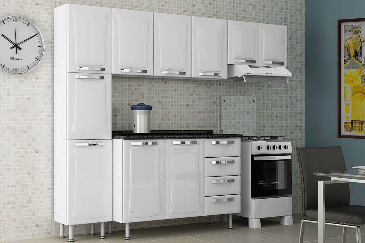 Cozinha Completa Itatiaia Itanew de Aço c/ 4 Peças (Paneleiro+2 Armários+Gabinete) Kit CZ75