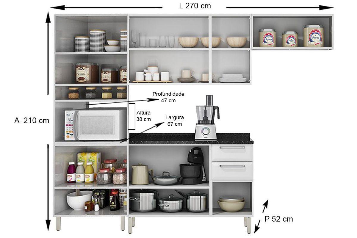 Cozinha Completa Itatiaia Tarsila de Aço c/ 4 Peças (Paneleiro+2 Armários+Gabinete) Kit CZ77