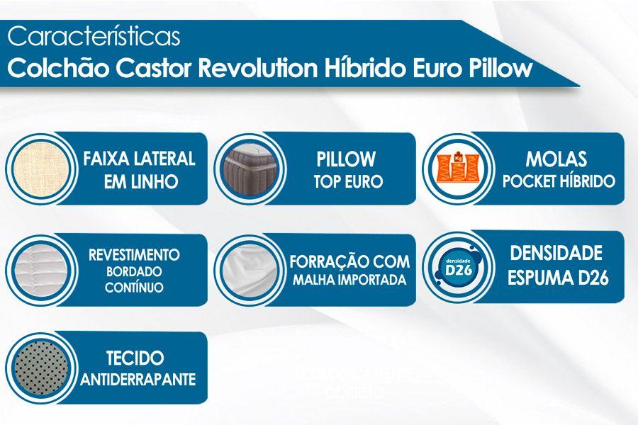 Conjunto Cama Box - Colchão Castor de Molas Pocket Revolution Híbrido + Cama Box Universal Nobuck Rosolare Café