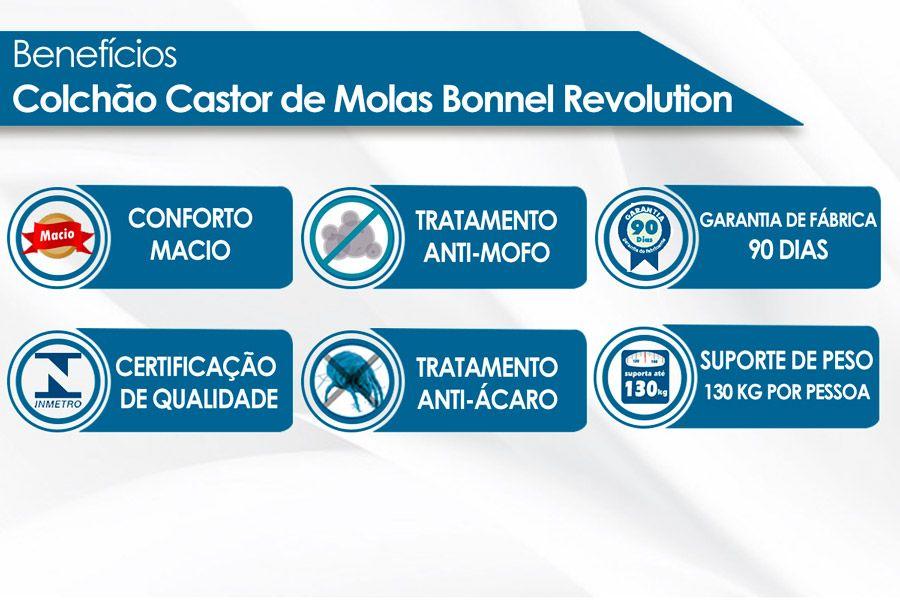 Conjunto Box - Colchão Castor de Molas Bonnel Revolution + Cama Box Universal CRC Camurça Brown