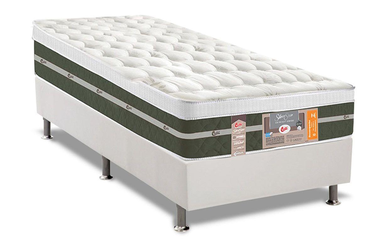 Conjunto Cama Box - Colchão Castor de Molas Bonnel Silver Star Air + Cama Box Universal Courino Bianco