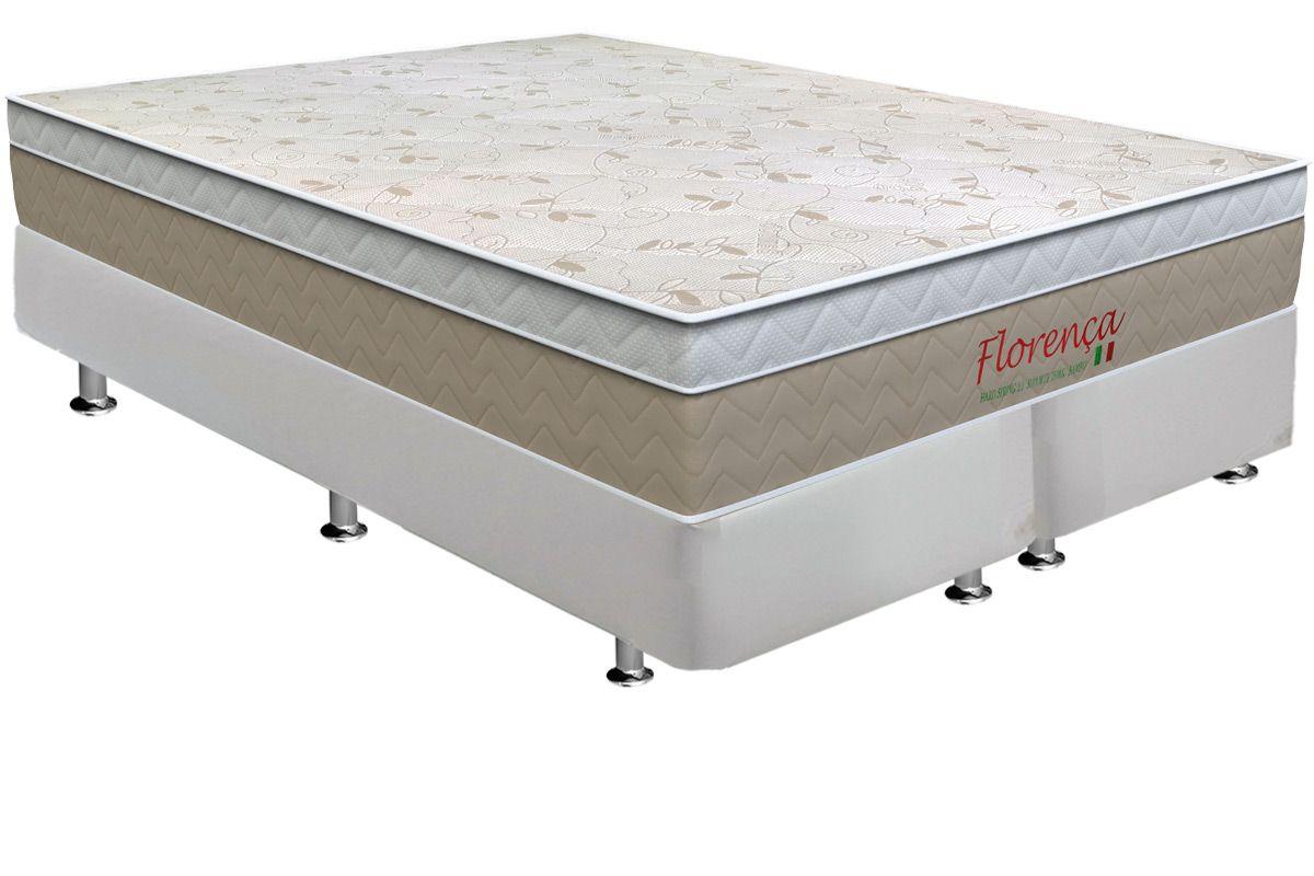 Conjunto Cama Box - Colchão Orthoflex de Molas Bonnel Florença + Cama Box Courino White