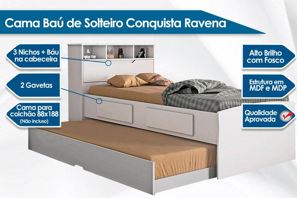 Cama Baú de Solteiro Conquista Ravena c/ 2 Gavetas + Cama Auxiliar