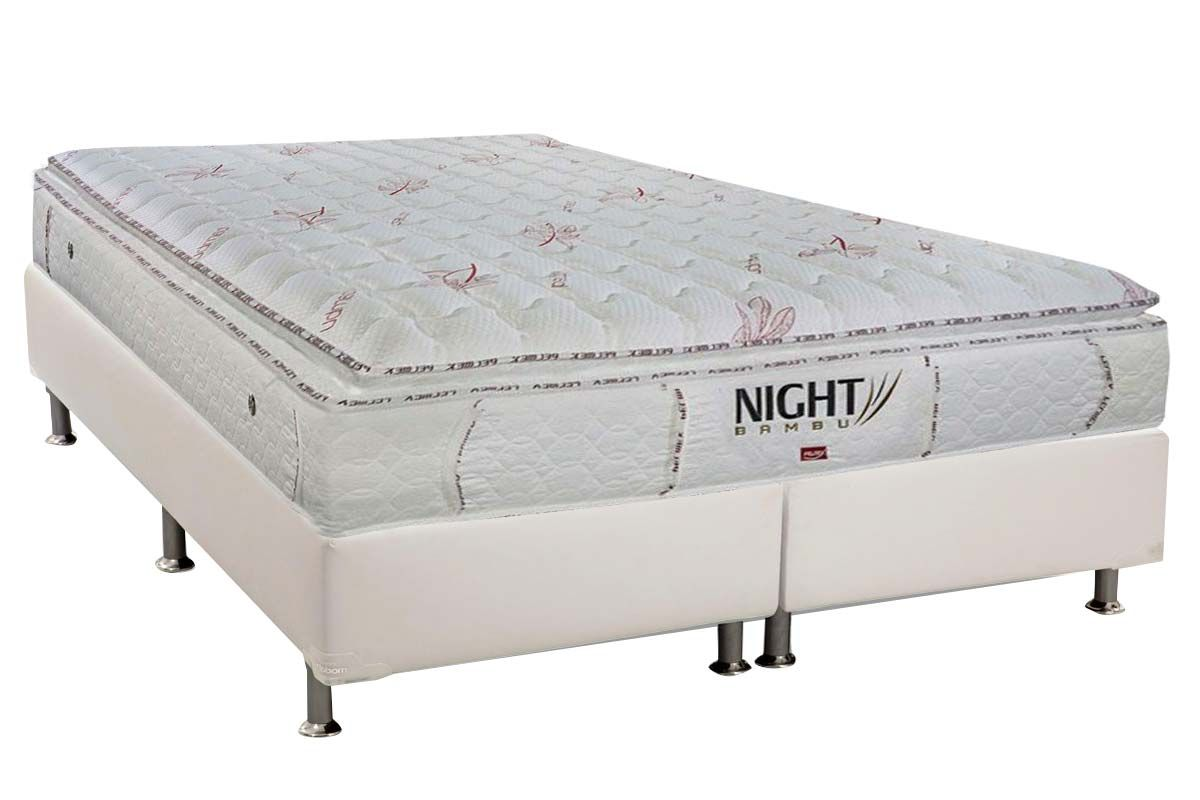 Conjunto Cama Box - Colchão Pelmex de Molas Pocket Night Bambu Branco + Cama Box Universal Courino White