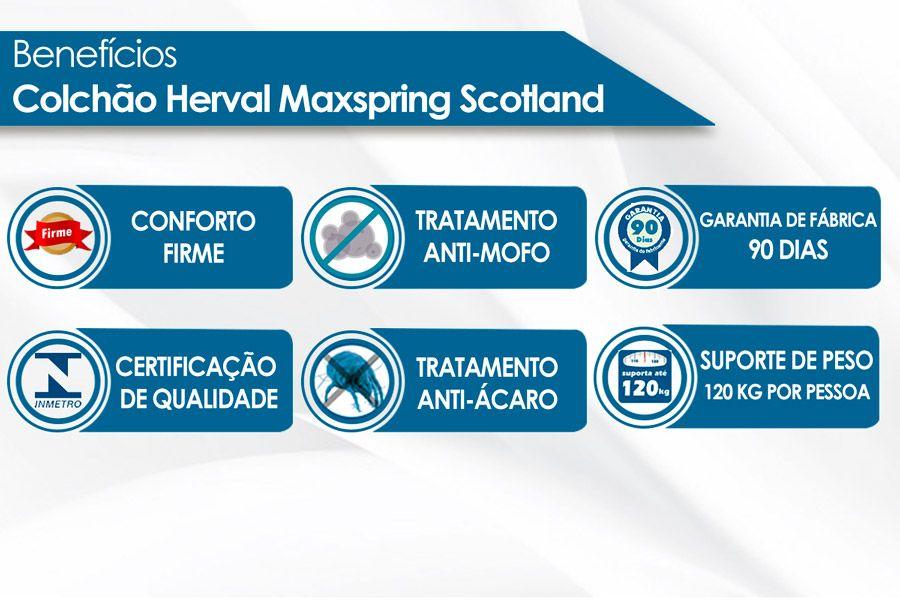 Conjunto Cama Box - Colchão Herval de Molas Maxspring Scotland + Cama Box Universal Nobuck Bege Crema