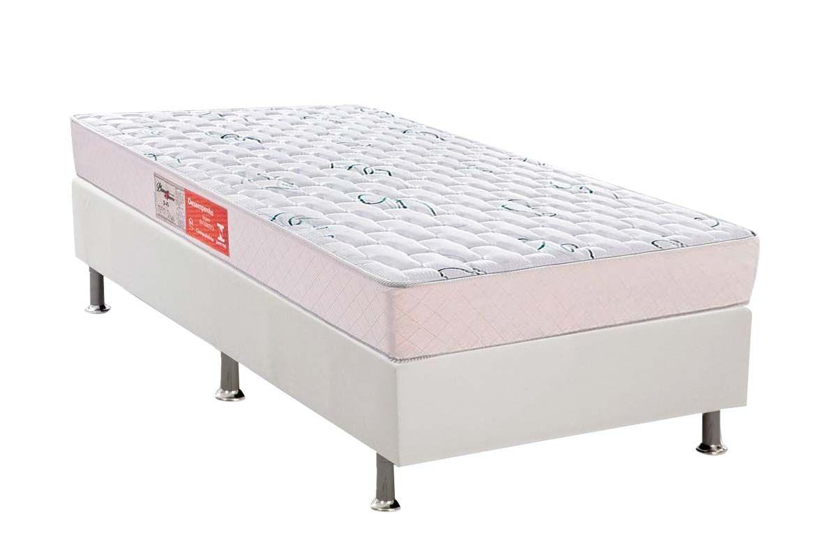Conjunto Cama Box  - Colchão Plumatex de Espuma D45 Pluma Spuma + Cama Box Universal Courino White