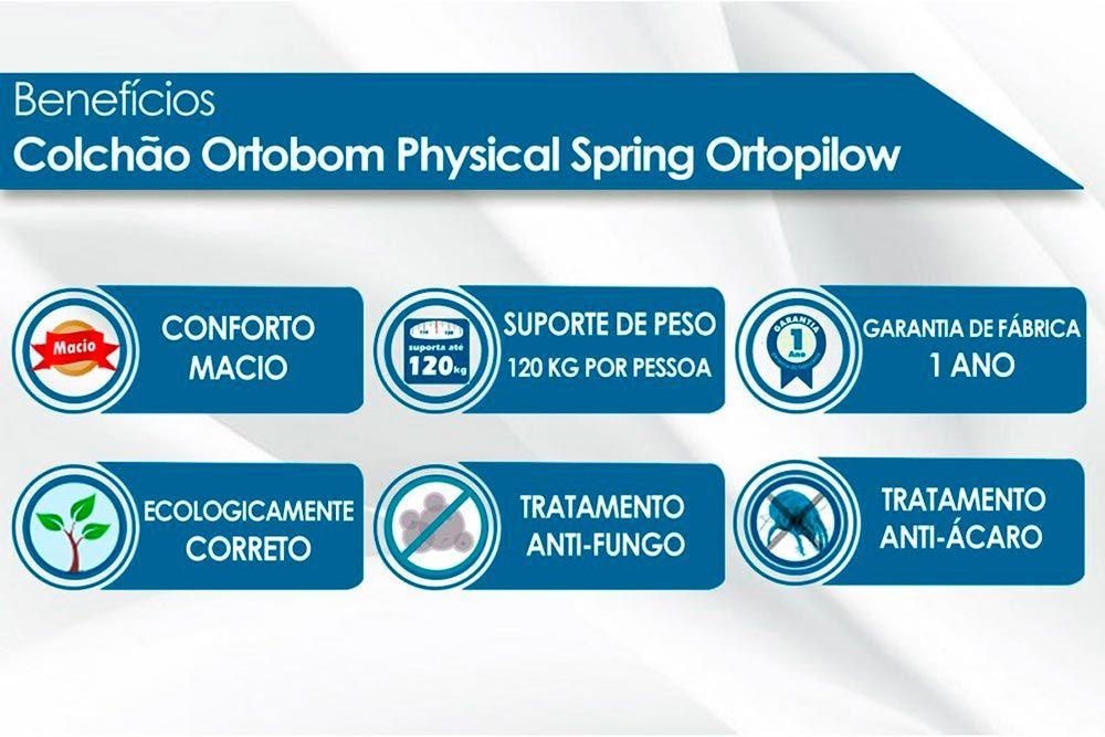 Conjunto Baú - Colchão Ortobom de Molas Nanolastic Physical Spring Ortopilow + Cama Box Baú Universal CRC Courino Black