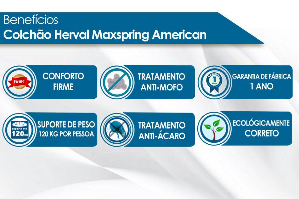Conjunto Cama Box - Colchão Herval de Molas Maxspring American + Cama Box Universal Courino White