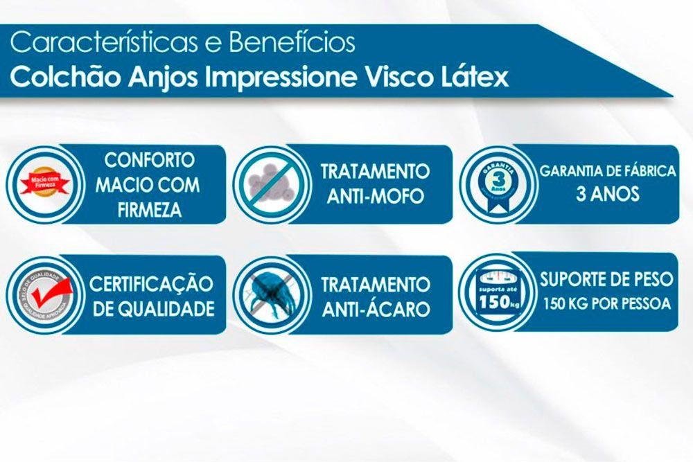 Conjunto Cama Box - Colchão Anjos de Molas Pocket Impressione Visco Látex + Cama Box Universal CRC Courino White