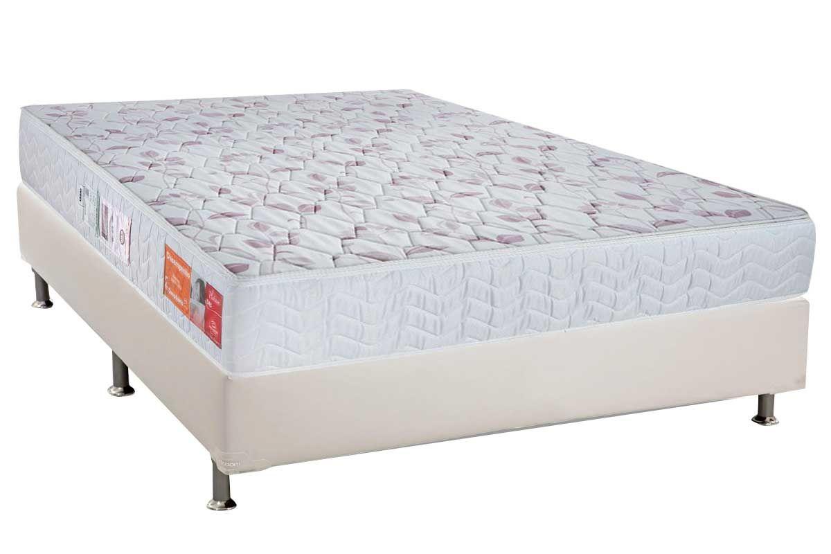 Conjunto Cama Box - Colchão Orthocrin de Espuma D20 Platinum Pró Saúde Duplo 17cm Selado INMETRO e INER + Cama Box Universal Courino Bianco