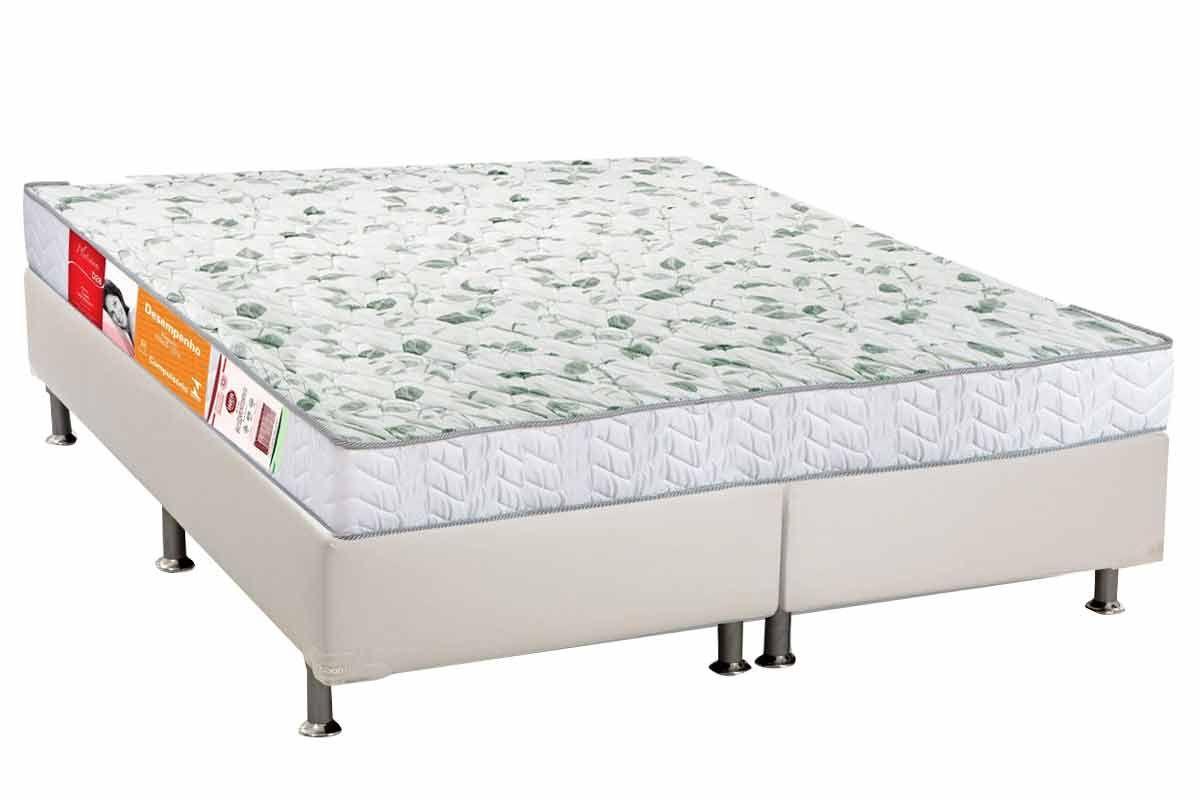 Conjunto Cama Box - Colchão Orthocrin de Espuma D28 Platinum Pró Saúde Duplo Selado INMETRO e INER + Cama Box Universal Courino Bianco