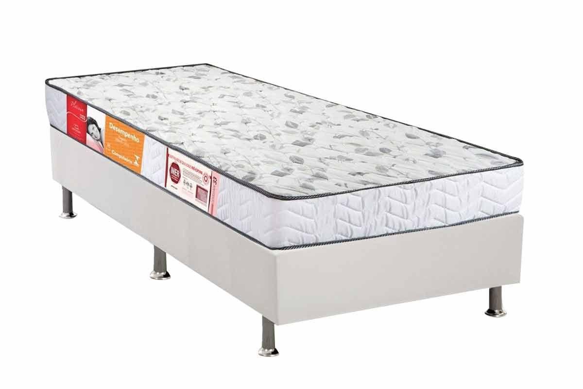 Conjunto Cama Box - Colchão Orthocrin de Espuma D33 Platinum Pró Saúde Duplo Selado INMETRO e INER + Cama Box Universal Courino Bianco