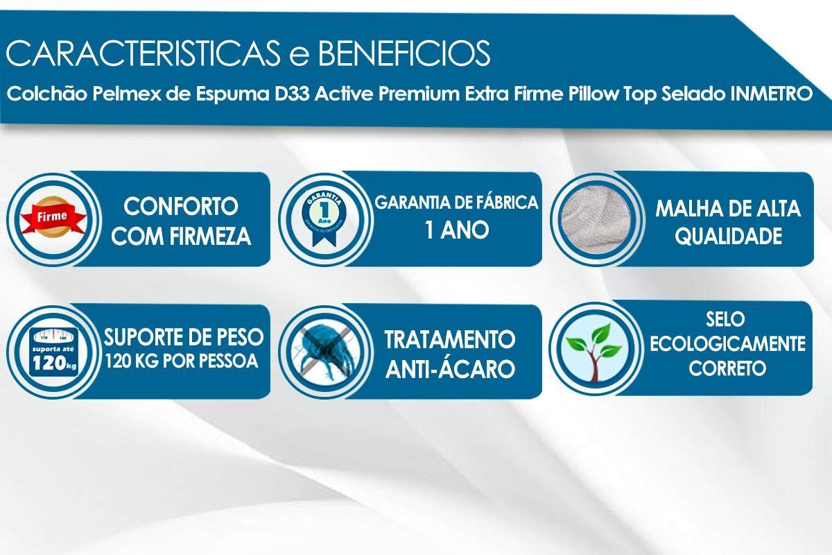 Conjunto Cama Box - Colchão Pelmex de Espuma D33 Active Premium Extra Firme + Cama Box Universal Courino Bianco