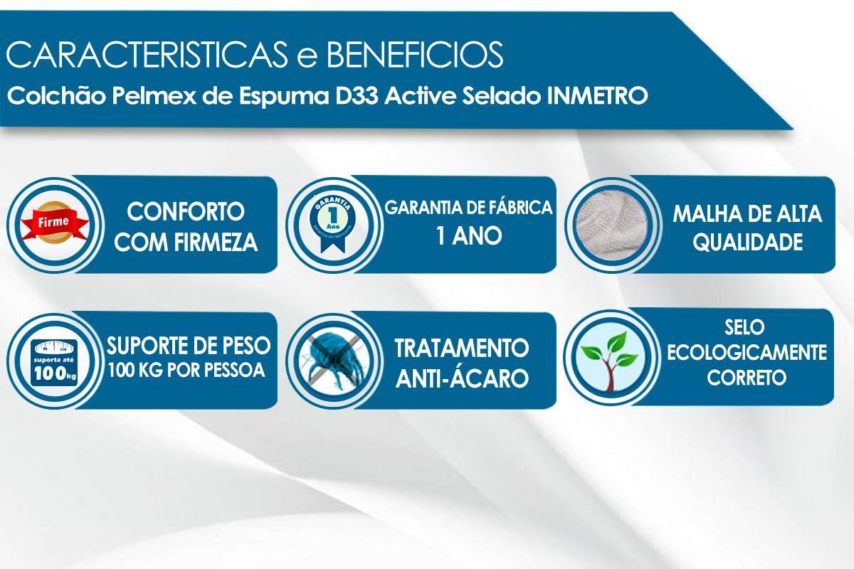 Conjunto Cama Box - Colchão Pelmex de Espuma D33 Active Selado INMETRO + Cama Box Universal Courino Bianco
