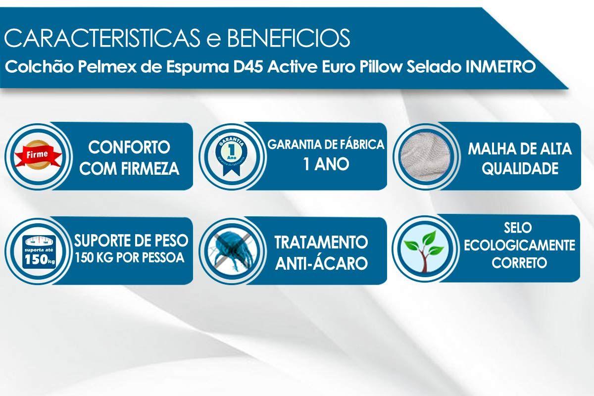 Conjunto Cama Box - Colchão Pelmex de Espuma D45 Active Selado INMETRO + Cama Box Universal Nobuck Nero Black