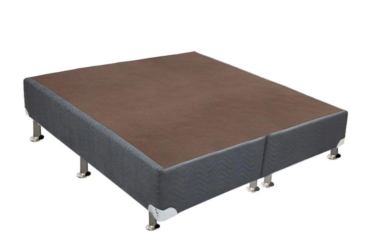 Conjunto Cama Box - Colchão Somopar LightSpuma de Molas Verticoil Sonhare + Cama Box  Universal Nobuck Cinza