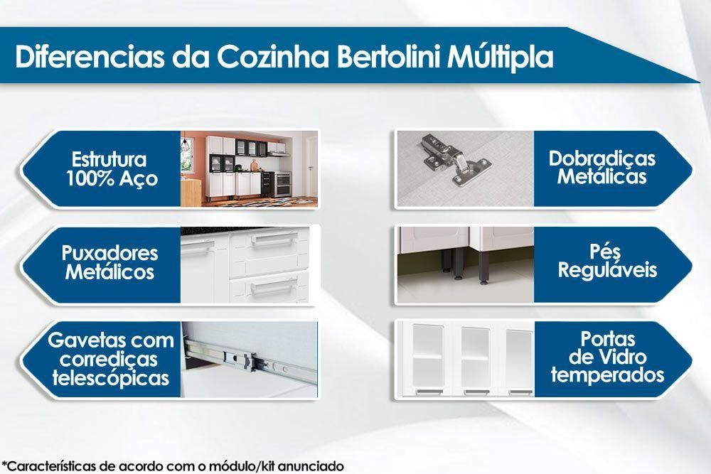Cozinha Completa Bertolini Múltipla Aço 4 Peças (Paneleiro Torre Quente+1 Armário+Gabinete+Nicho) CZ87