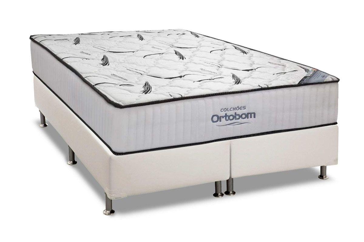 Conjunto Cama Box- Colchão Ortobom de Espuma High Foam + Cama Box Universal Courino White