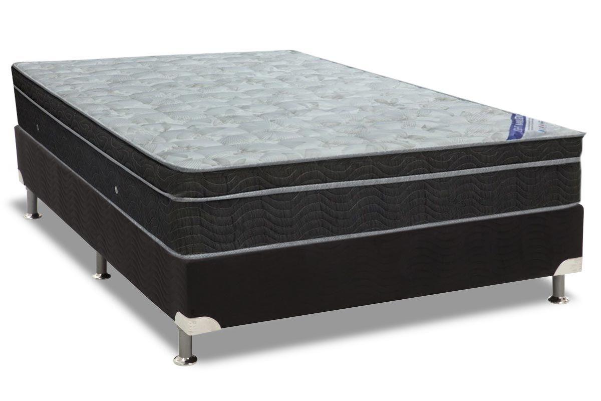Conjunto Cama Box - Colchão Ortobom de Molas Nanolastic Light Selado + Cama Box Universal Nero Black