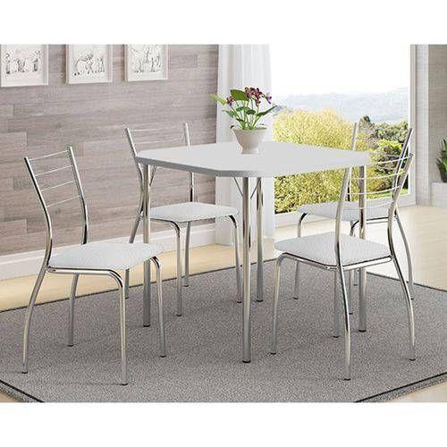 Conjunto Mesa de Jantar Carraro - Base Cromada 1510 c/ Tampo Madeirado Branco 77cm + 4 Cadeiras 1700 Cromada/Branco