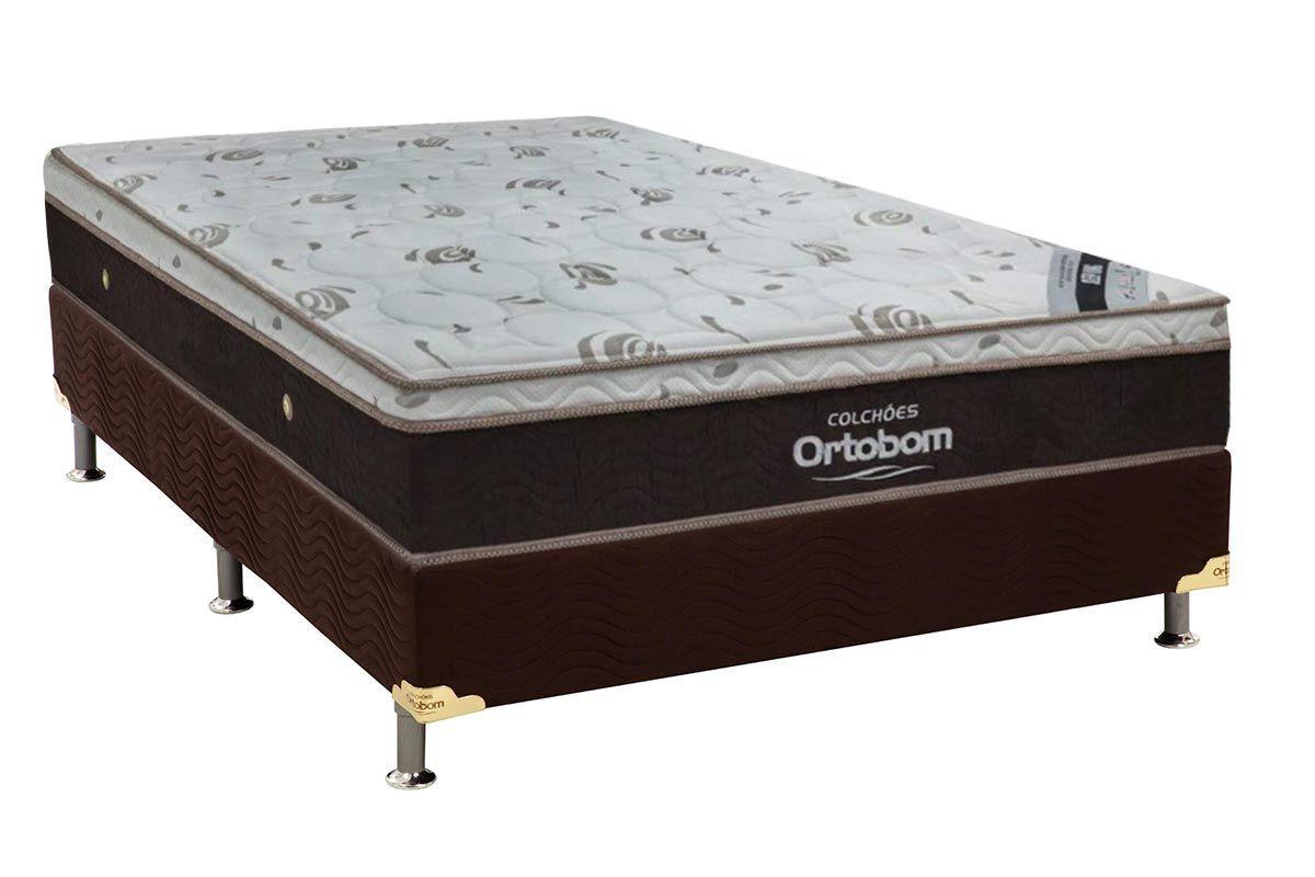 Conjunto Cama Box - Colchão Ortobom de Molas Pocket Sleep King Látex + Cama Box Universal Nobuck Rosolare Café