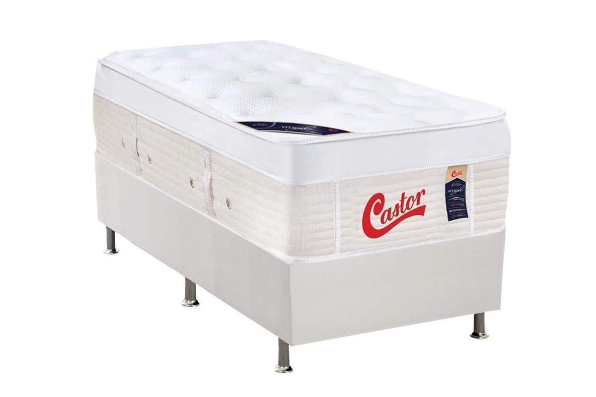 Conjunto Cama Box - Colchão Castor de Molas Pocket Gold Star Vitagel Max + Cama Box Universal Courino White