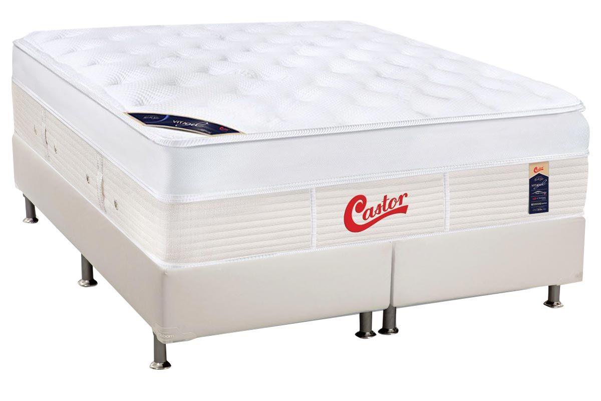 Conjunto Cama Box - Colchão Castor de Molas Pocket Gold Star Vitagel Max + Cama Box Universal Courino White