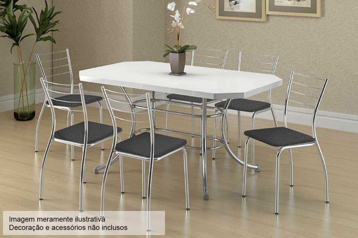 Conjunto Mesa de Jantar Carraro - Base Cromada 1507 c/ Tampo Madeirado Branco 136cm + 6 Cadeiras 1700 Cromada