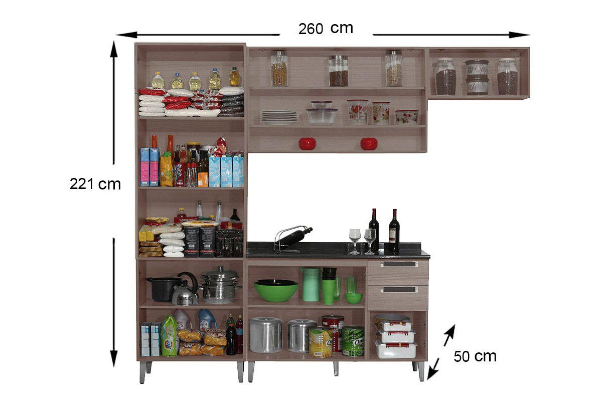 Cozinha Completa Itatiaia Jazz de Madeira c/ 4 Peças (Paneleiro+2 Armários+Gabinete c/Tampo)