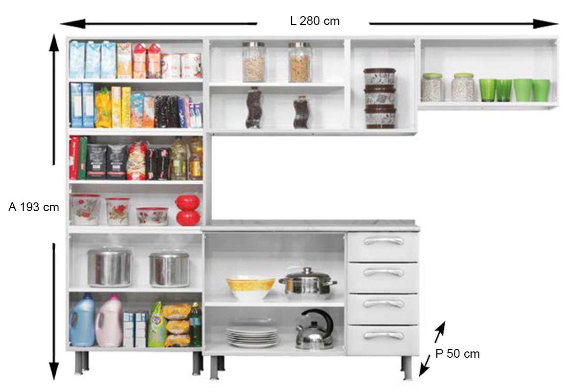 Cozinha Completa Itatiaia Premium de Aço c/ 4 Peças (Paneleiro+2 Armários+Gabinete c/Tampo)